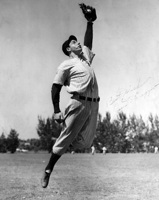 Joe DiMaggio played center field for the New York Yankees for 13 seasons. (National Baseball Hall of Fame and Museum)