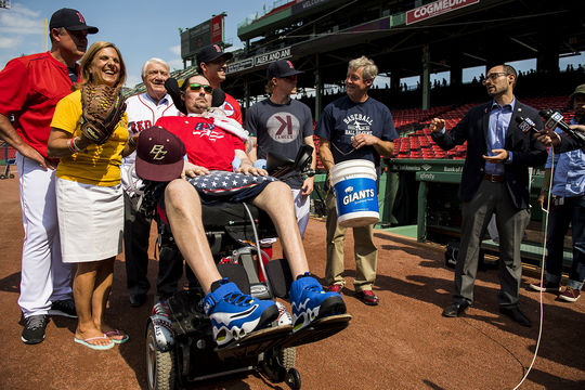 During a press conference held on June 10, 2017 at Fenway Park, former Boston College baseball player and ALS activist Pete Frates (center) donated artifacts to the Baseball Hall of Fame. Jon Shestakofsky (far right), the Hall of Fame's vice president of communications and education, was on hand to accept the donation. (Photo by Matthew Thomas / Boston Red Sox)