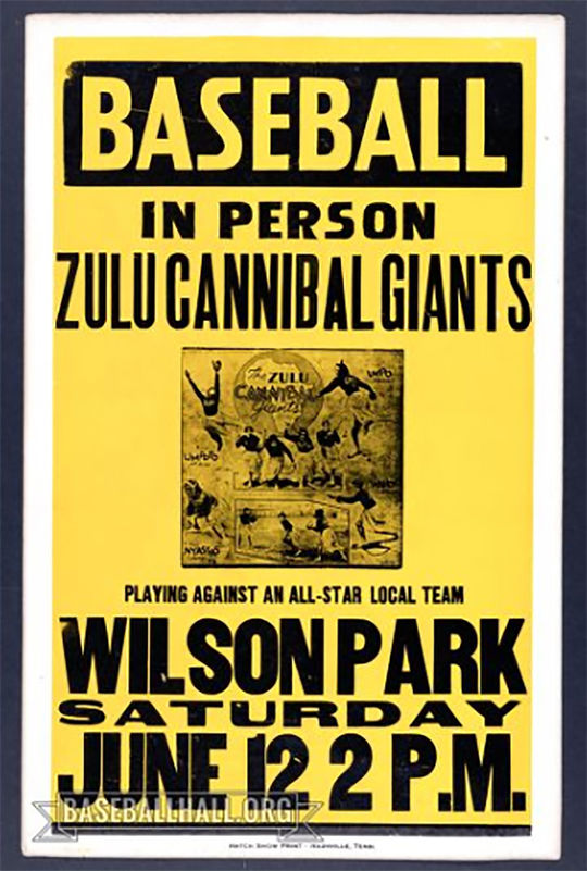 The Zulu Cannibal Giants were owned by former Negro Leaguer Charlie Henry, and their games were a mix of baseball and minstrel show. (National Baseball Hall of Fame and Museum)