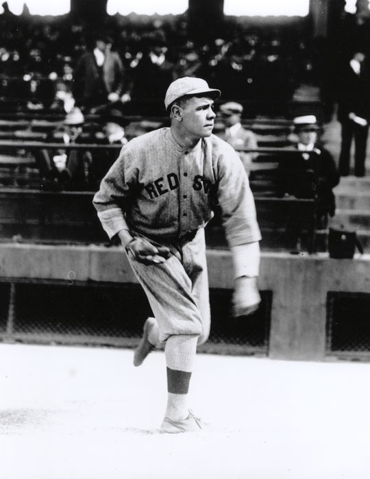 Babe Ruth began his major league career with the Red Sox, playing with the team for six seasons from 1914-1919. (National Baseball Hall of Fame and Museum)