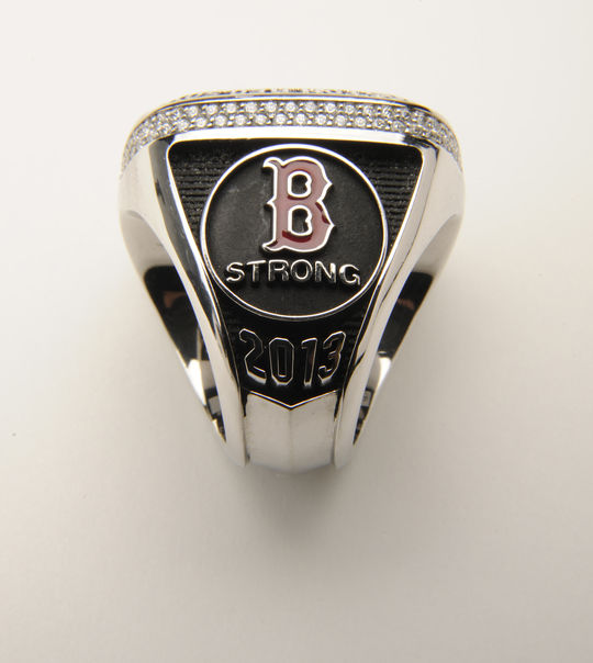 "The Boston Red Sox 2013 World Series Ring features the ""Boston Strong"" symbol on one of it's arms. B-64.2014 (Milo Stewart, Jr. / National Baseball Hall of Fame)"