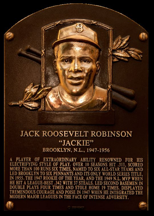 Jackie Robinson's Hall of Fame Plaque was updated in 2008.  (National Baseball Hall of Fame Library)