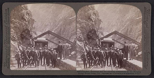 The Hanging Bridge attracted all manner of tourists, including President Theodore Roosevelt, who visited the bridge in 1905 while traveling in Colorado. (Courtesy of the Library of Congress)