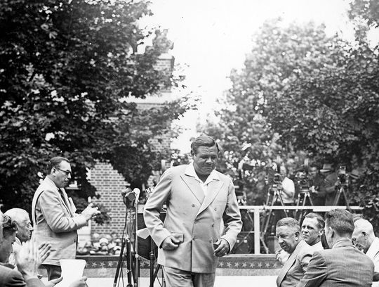 Babe Ruth, a member of the Class of 1936, pictured at his Hall of Fame Induction Ceremony in 1939. (National Baseball Hall of Fame and Museum)