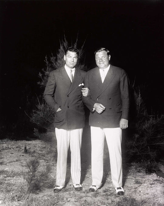 """Boxer Jack Dempsey (left) and Babe Ruth were two of the greatest sport icons of the 1920s. <a href=""""https://collection.baseballhall.org/islandora/object/islandora%3A632760"""">PASTIME</a> (National Baseball Hall of Fame and Museum)"""