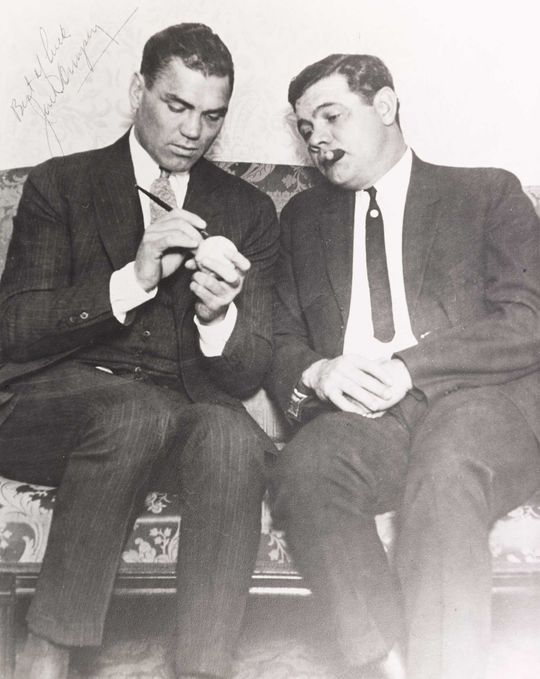"""As two of the top athletes in their respective sports, Jack Dempsey and Babe Ruth were celebrities of their time. <a href=""""https://collection.baseballhall.org/islandora/object/islandora%3A632749"""">PASTIME</a> (National Baseball Hall of Fame and Museum)"""