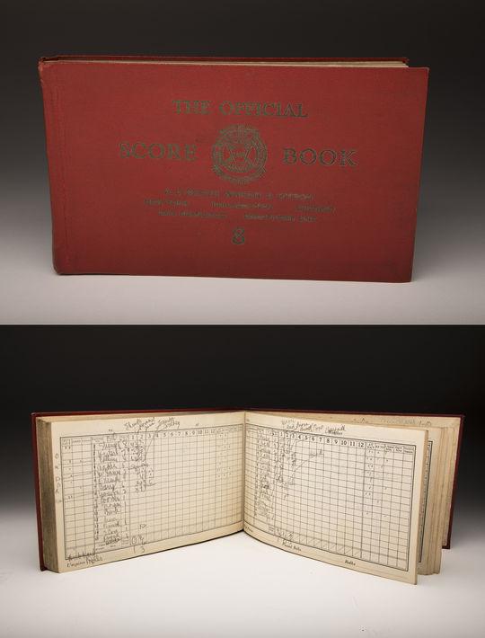 A scorebook kept by Philadelphia sportswriter James Isaminger kept record of the Philadelphia Athletics' Reunion of World Champions game on Sept. 10, 1939. (By Photographer Milo Stewart Jr. / National Baseball Hall of Fame and Museum)