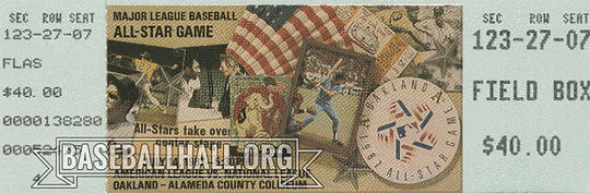 This ticket is from the 1987 All-Star Game, which was played at Oakland-Alameda County Coliseum on July 14. Spectators were treated to extra innings but very little offense, as neither team scored a run until the 13th inning, when Tim Raines hit a two-run triple that gave the National League the 2-0 victory. (Milo Stewart Jr./National Baseball Hall of Fame and Museum)