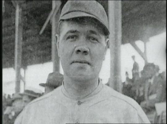 This closeup of a young Babe Ruth can be seen in what is believed to be the earliest known footage of Ruth in a Yankee uniform. (National Baseball Hall of Fame Library)