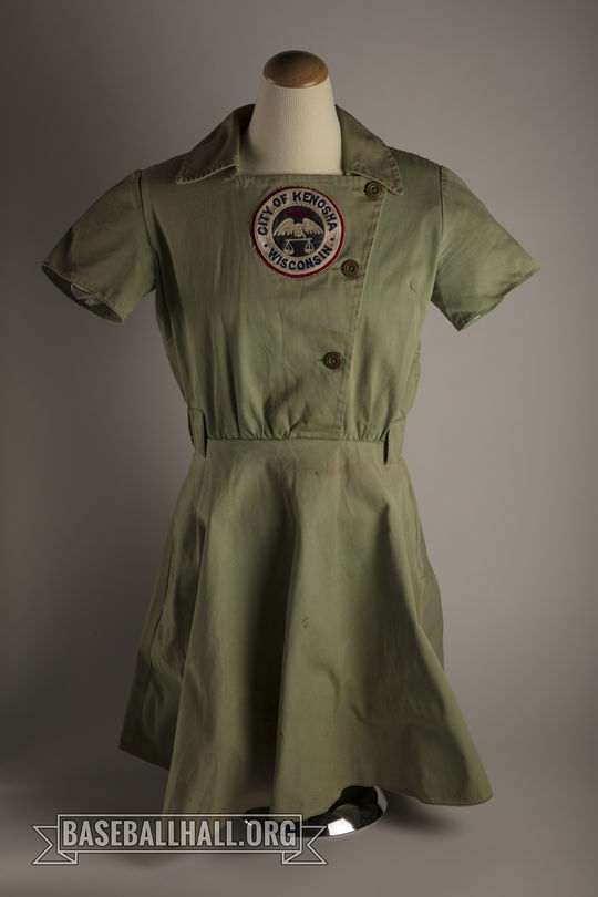 "Audrey Wagner wore this Kenosha Comets tunic in 1948, the year she won the AAGPBL Player of the Year Award. She was the only player to hit over .300 that year. <a href=""https://collection.baseballhall.org/PASTIME/audrey-wagner-kenosha-comets-tunic-circa-1948-2"">PASTIME</a> (Milo Stewart Jr./National Baseball Hall of Fame and Museum)"