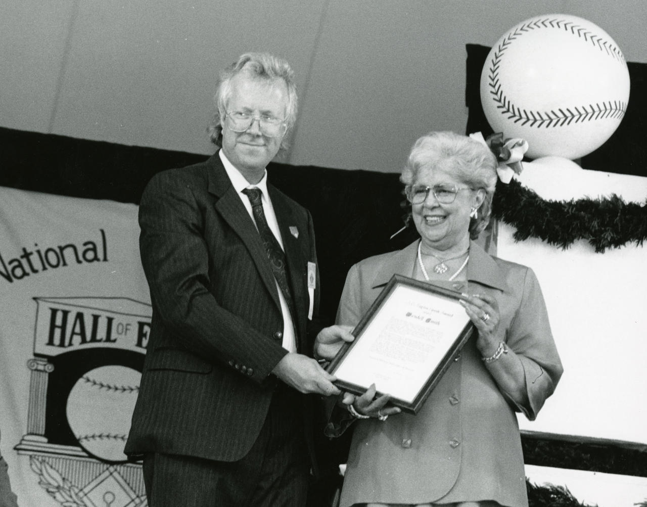 J.G. Taylor Spink Award Presentation to Wendell Smith, received by Wyonella Smith (Wendell Smith's widow) at the 1994 induction ceremony