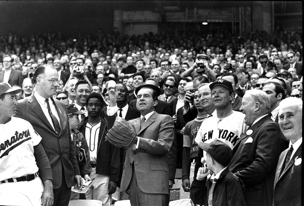 President Nixon's First Pitch at 1970 ASG